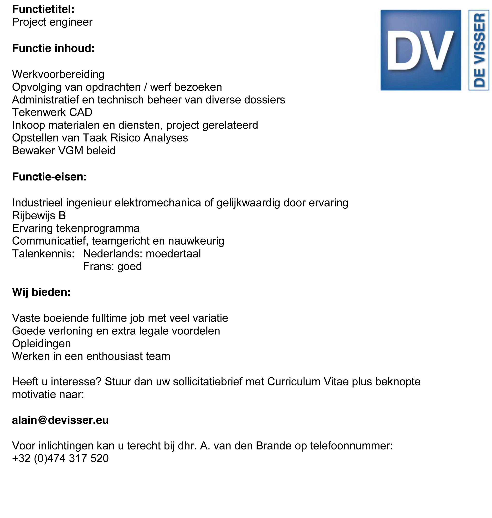 sollicitatiebrief engineer De Visser » Vacancies sollicitatiebrief engineer